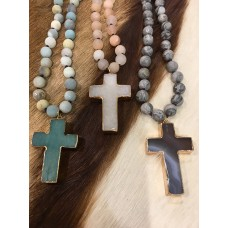 Amazonite Crystal - Cross Necklace - Sand/Natural