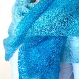 Extra Fine Square Mohair Scarf- Turquoise/Light blue