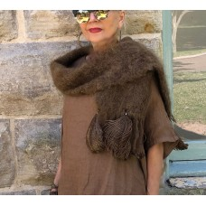 Mohair Scarf with Ostrich Feather - Chocolate Brown