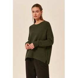 Split Hem Knit - Khaki - by Tirelli